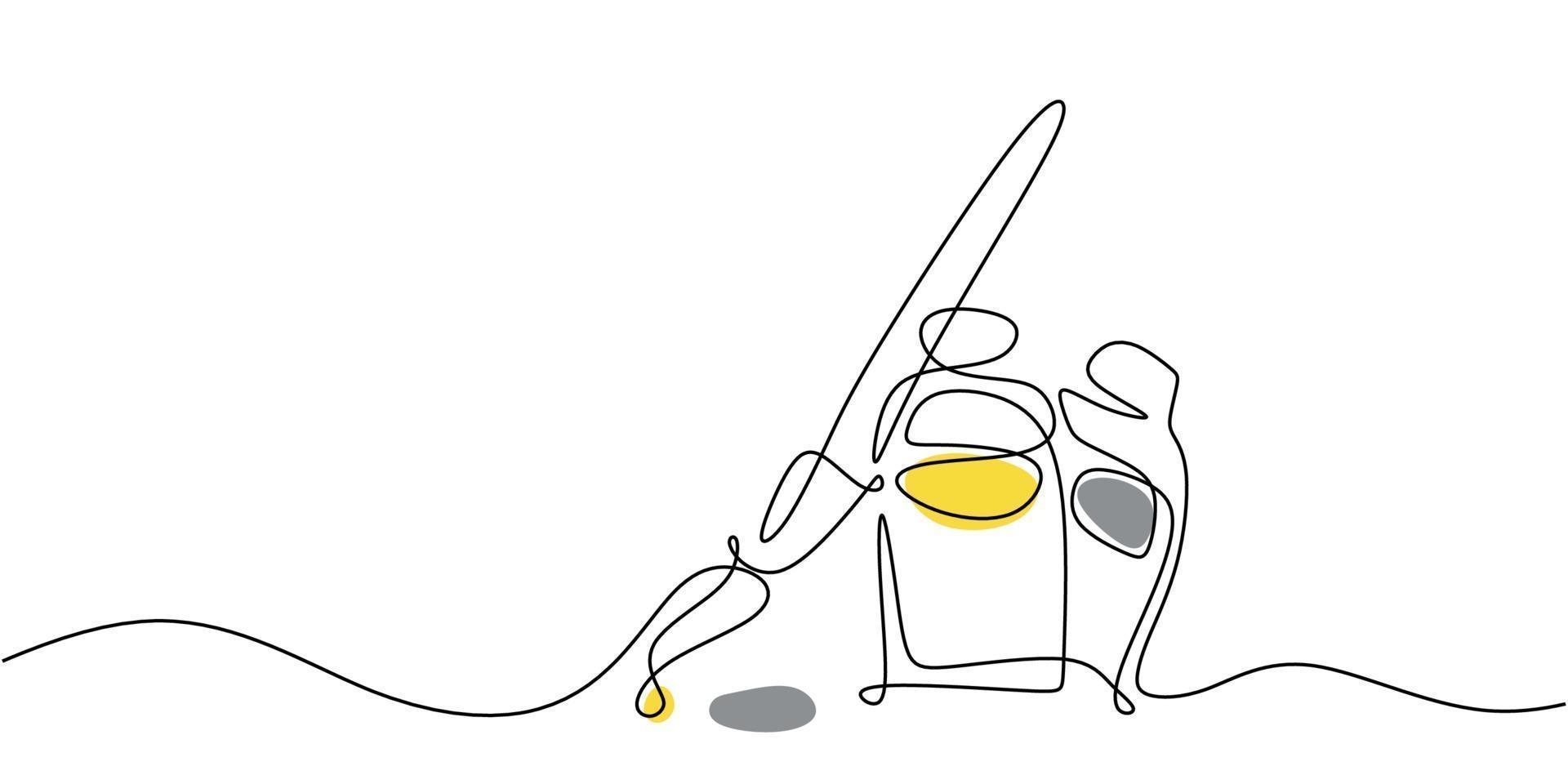 um único desenho de linha contínua de equipamento de pintura com pincel, tinta amarela e cinza isolada no fundo branco. vetor