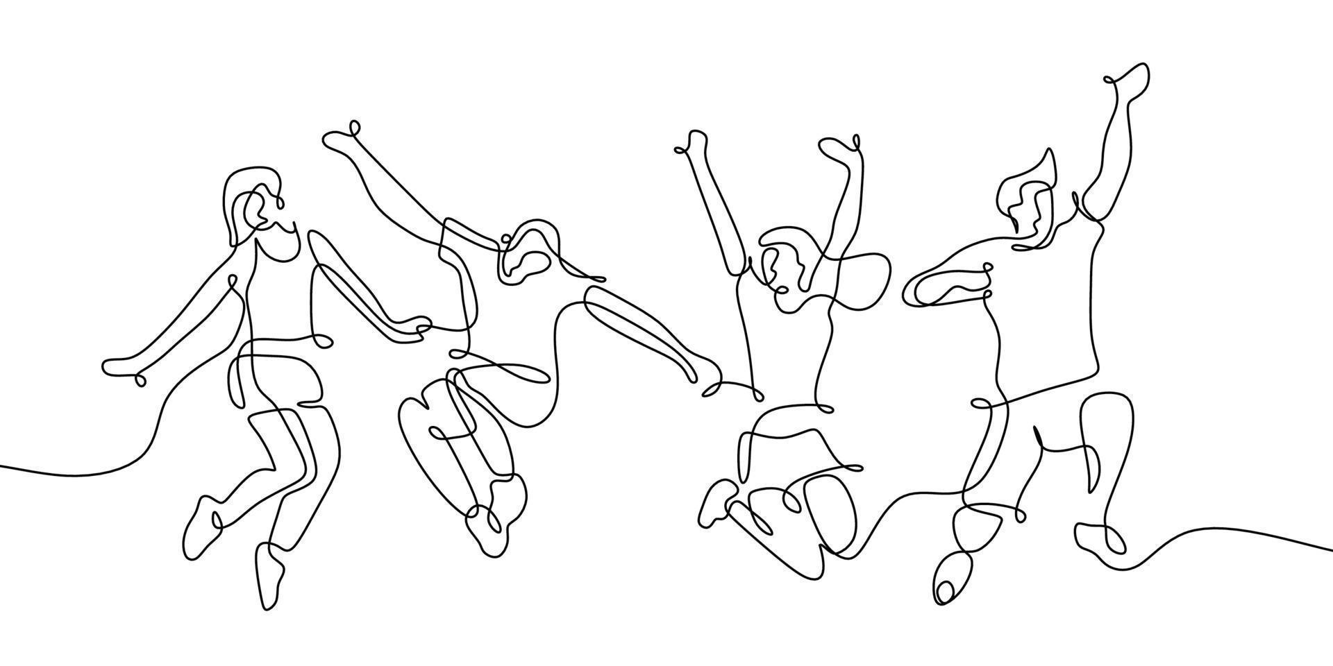 um único desenho de linha contínua de quatro membros da equipe adolescente feliz pulando isolados no fundo branco. vetor