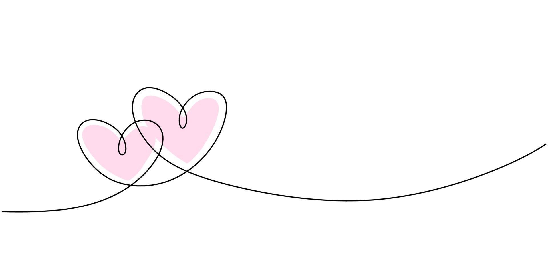 desenho de linha contínua de sinal de amor com dois corações rosa abraça o design minimalista em fundo branco vetor