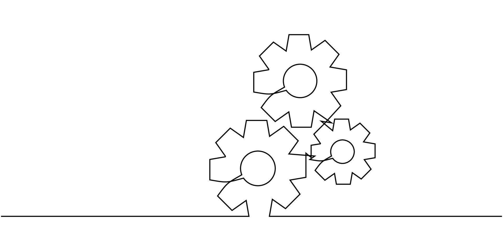 uma linha contínua de engrenagens em movimento. modelo de logotipo de empresa de símbolo de roda redonda de metal para o conceito de trabalho em equipe de negócios. design gráfico de desenho dinâmico de linha única vetor