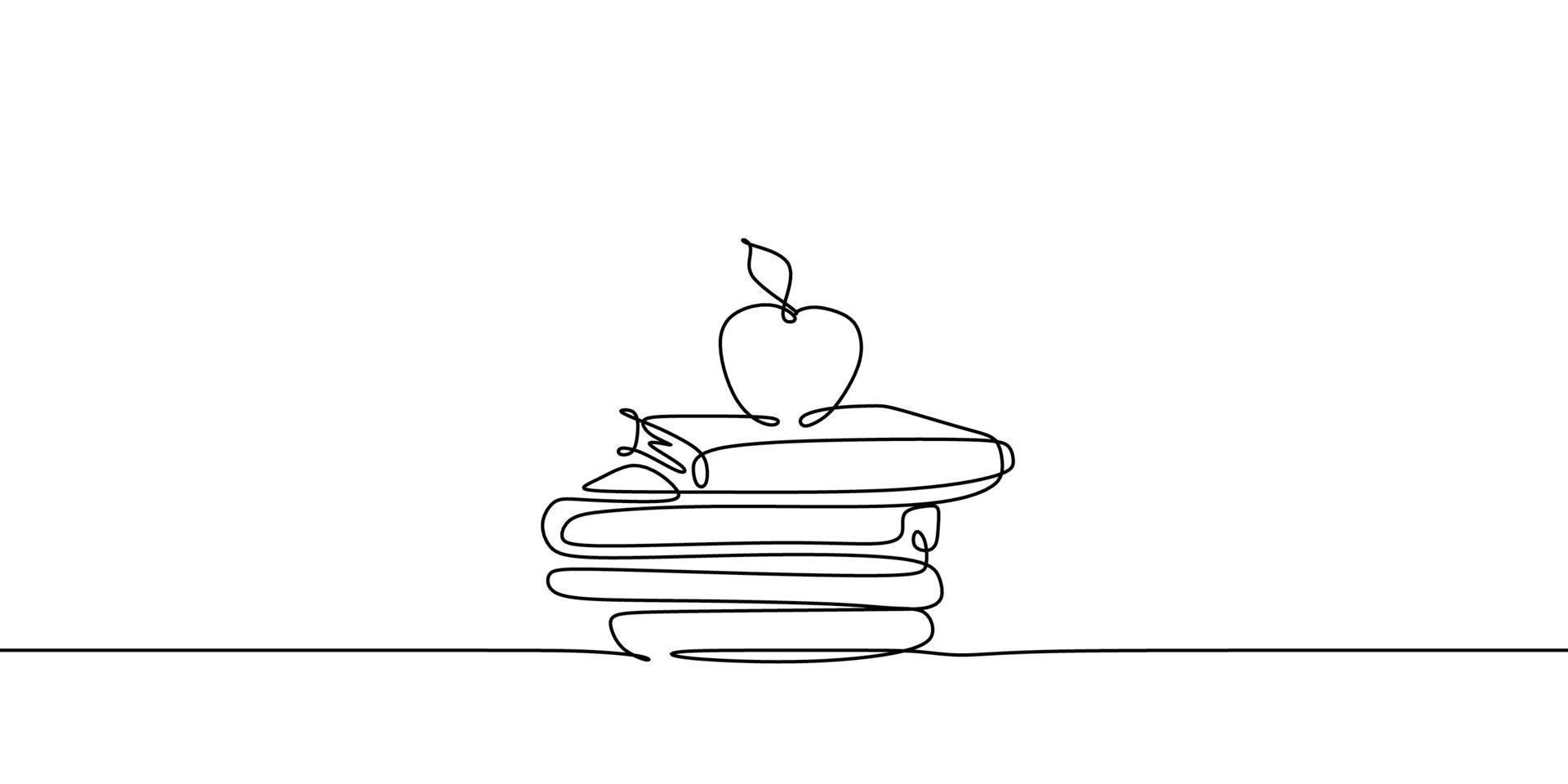 contínuo um desenho de linha de maçã acima livros empilhar design de ilustração vetorial minimalista sobre fundo branco. isolado estilo gráfico moderno de linha simples. mão desenhada conceito gráfico para educação vetor