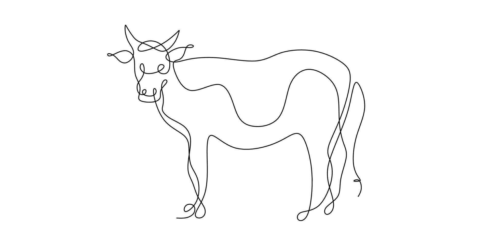 um desenho de linha contínua de uma única linha de gado. desenho de touro de linha contínua, símbolo de 2021. ano do boi desenhado em um isolado no fundo branco. boi, touro ou vaca abstrata. vetor