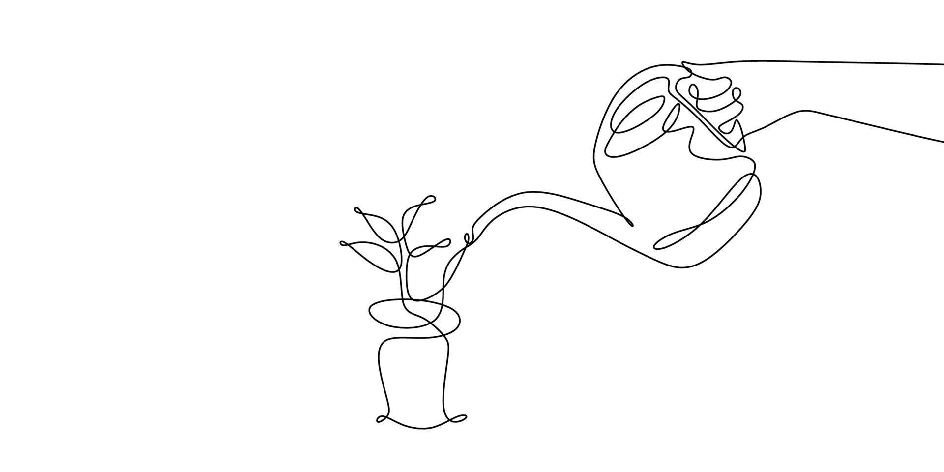 desenho de linha contínuo regando plantas isoladas no fundo branco. vetor