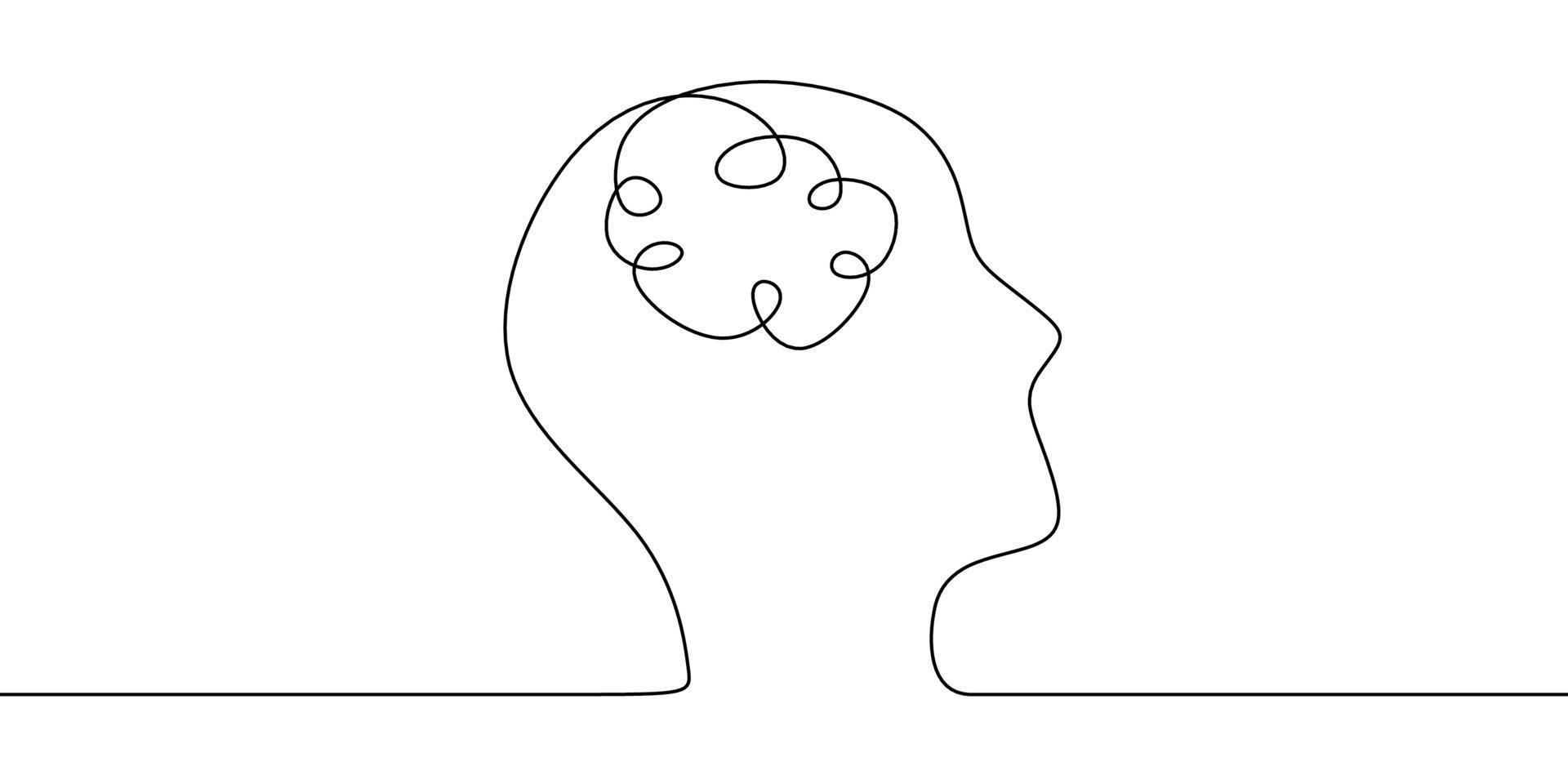 arte de linha contínua ou um desenho de linha de um cérebro humano, tecnologia mecânica e robótica com tecnologia avançada. vetor