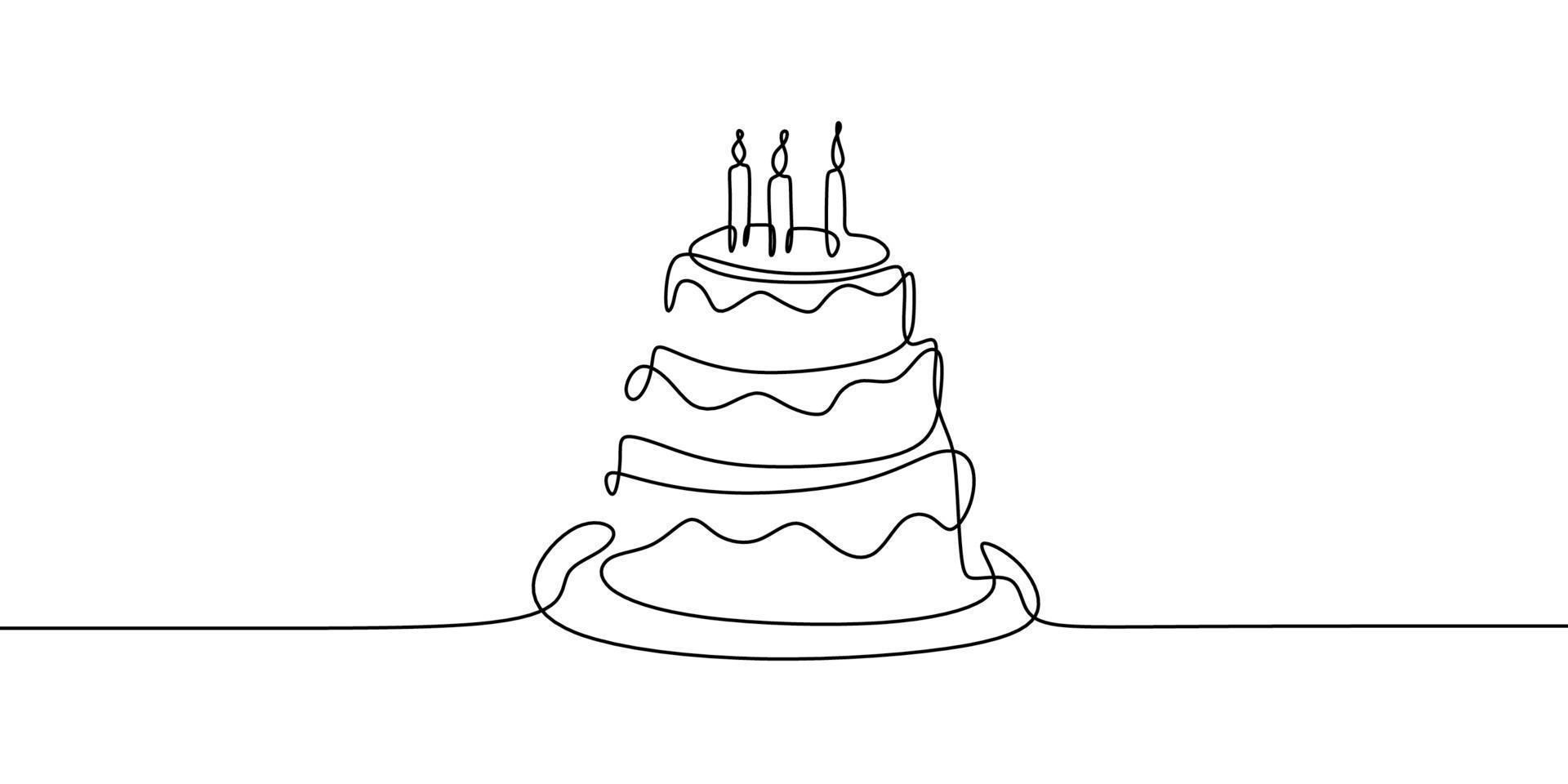 desenho de linha contínua. bolo de aniversário com três velas. símbolo de celebração isolado no fundo branco. vetor