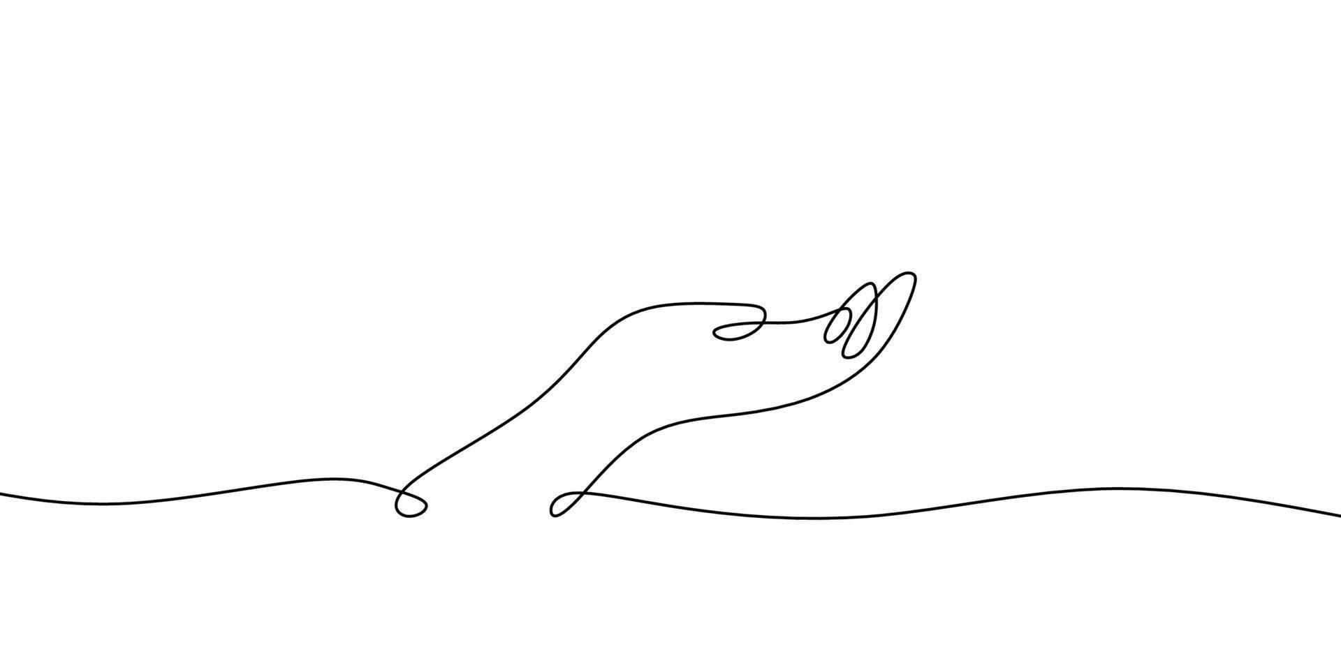 desenho de linha contínua de uma mão pobre perguntando algo. isolado no fundo branco. vetor