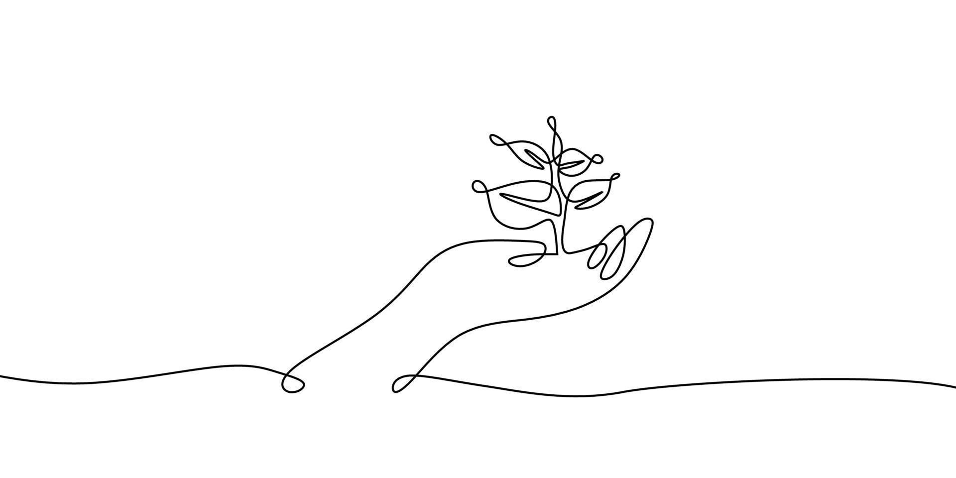 desenho de uma linha contínua do tema de volta à natureza com a mão segurando uma planta. conceito de crescer e amar a terra. vetor