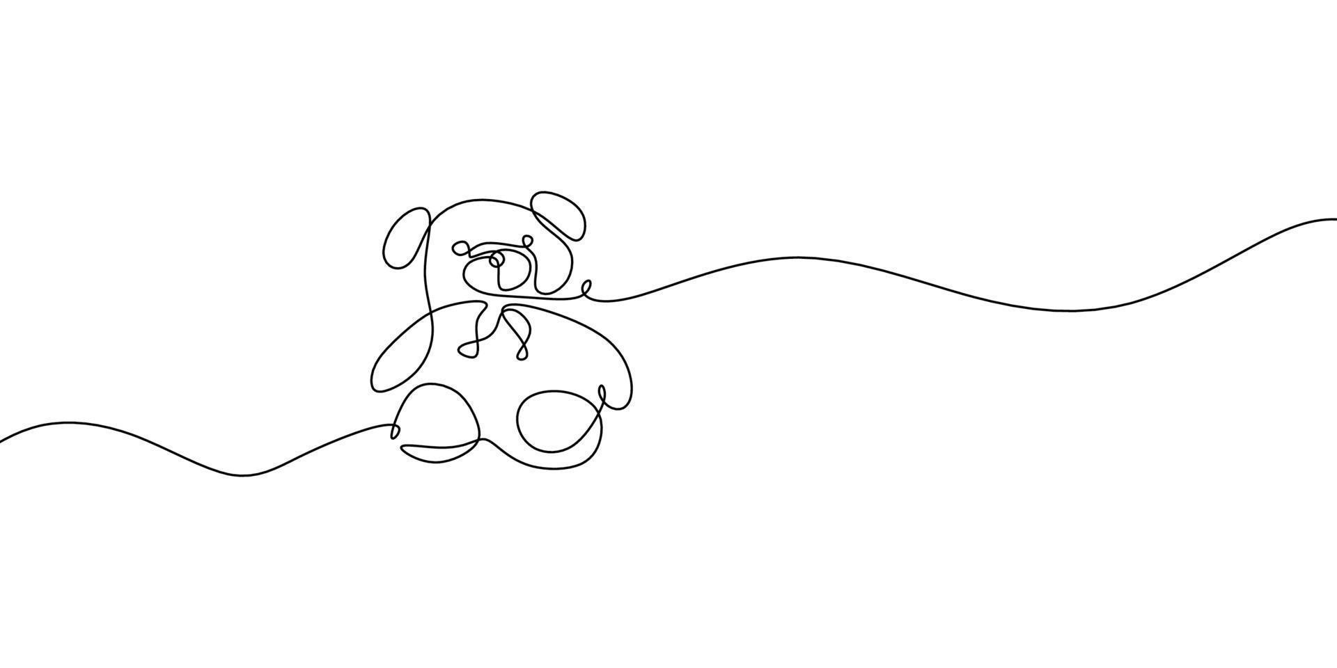 urso de pelúcia com uma única linha preta em um fundo branco. desenho de uma linha. linha contínua. fofo urso de pelúcia é o mascote da menina. ursinho de pelúcia sentado na cama. vetor
