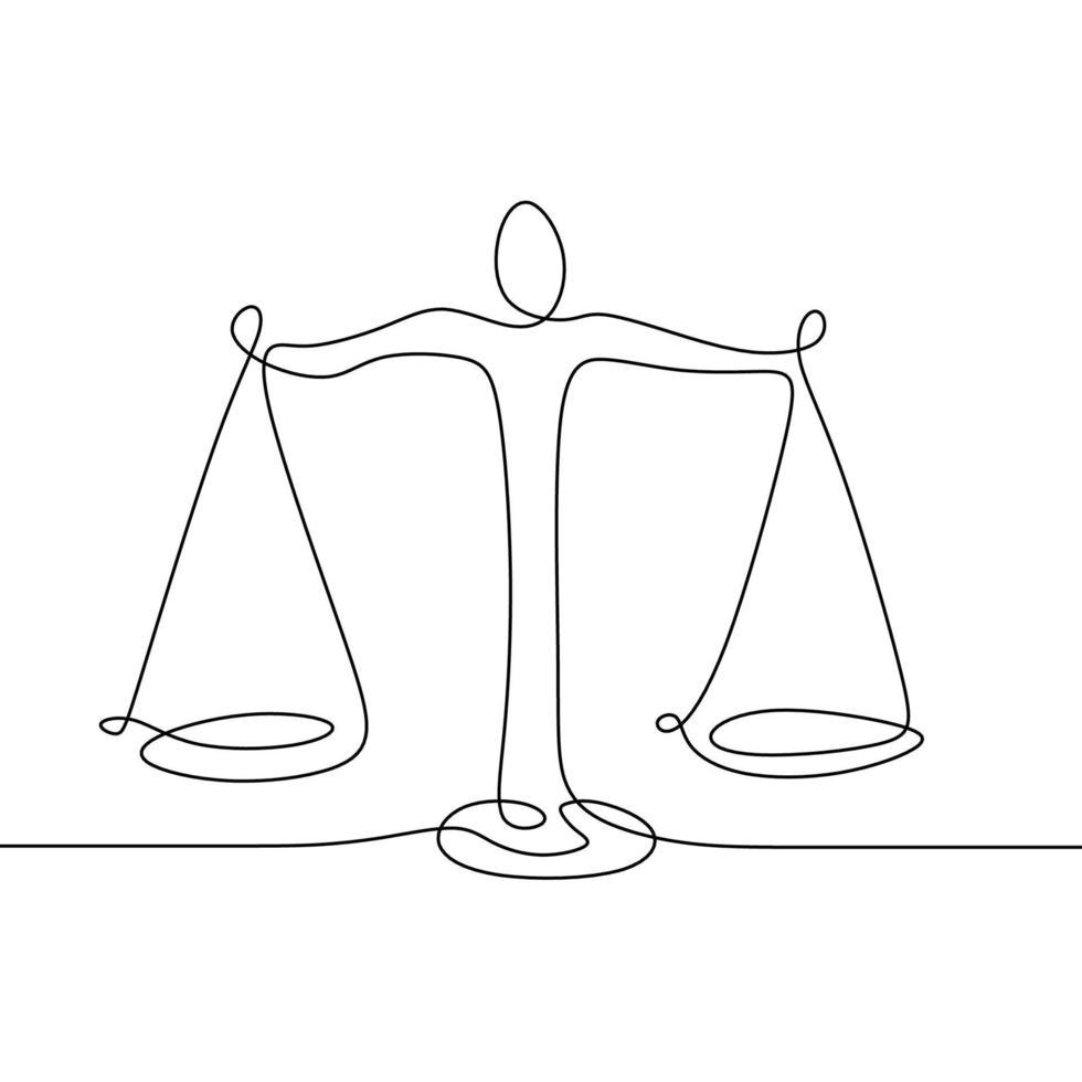 desenho de linha contínua de libra. símbolo de direito empresarial de equilíbrio de peso. símbolo de equilíbrio de peso. libra ou identidade legal um estilo de desenho de linha. vetor