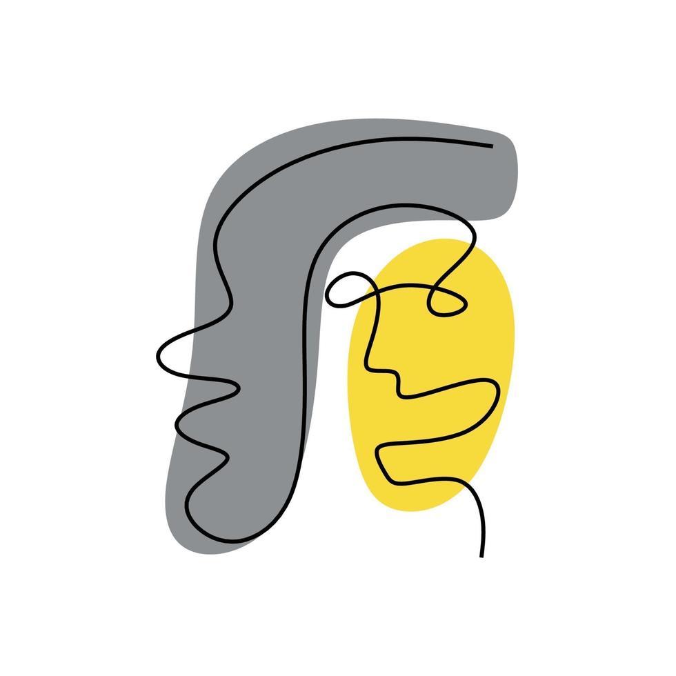 rosto abstrato um desenho de linha com cor cinza e amarela. estilo minimalista do retrato. vetor