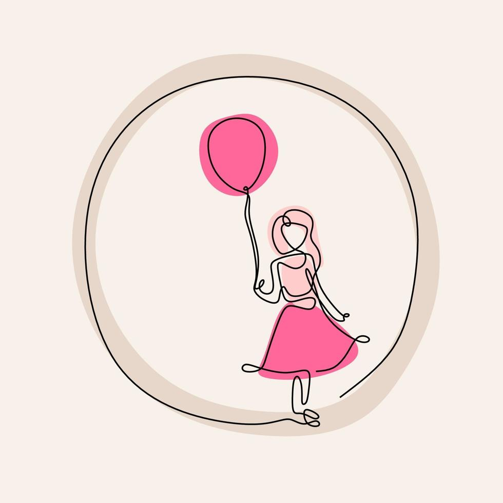 um desenho de linha contínua de meninas usando vestido rosa e jogando balões cor de rosa. linda criança garota está segurando um balão ao vento isolado no fundo branco. conceito de infância. vetor