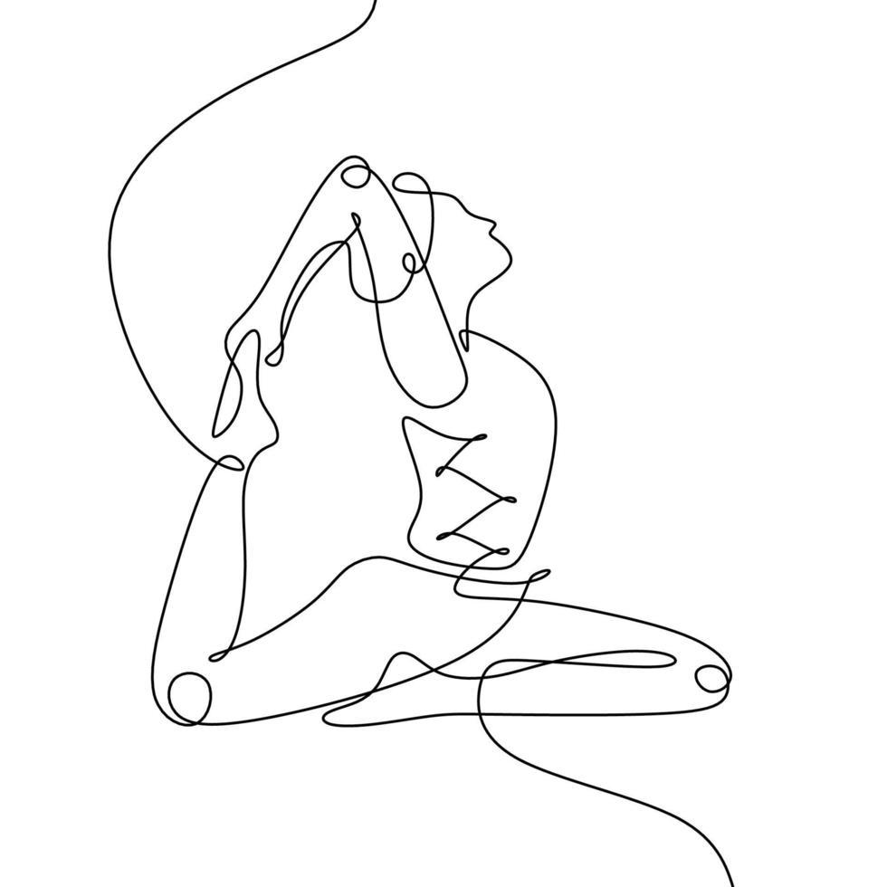 desenho de linha contínua de mulheres ioga, conceito de pose de pombo-rei. mulher fazendo ioga com a mão segurando a perna dela na cor preta e branca. vetor