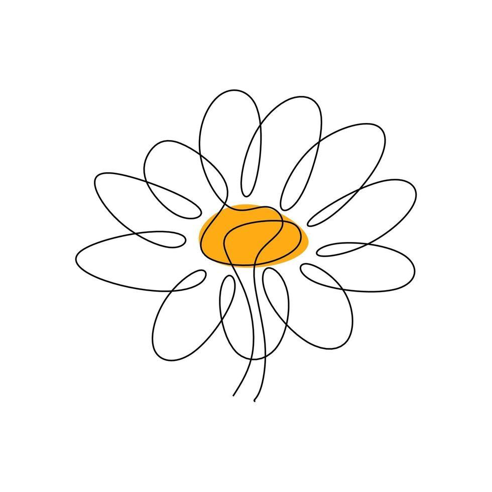 um único desenho de linha da flor da margarida da beleza isolado no fundo branco. belo conceito de flores desenho à mão para pôsteres, arte de parede, sacola, capa para celular, impressão de camiseta vetor