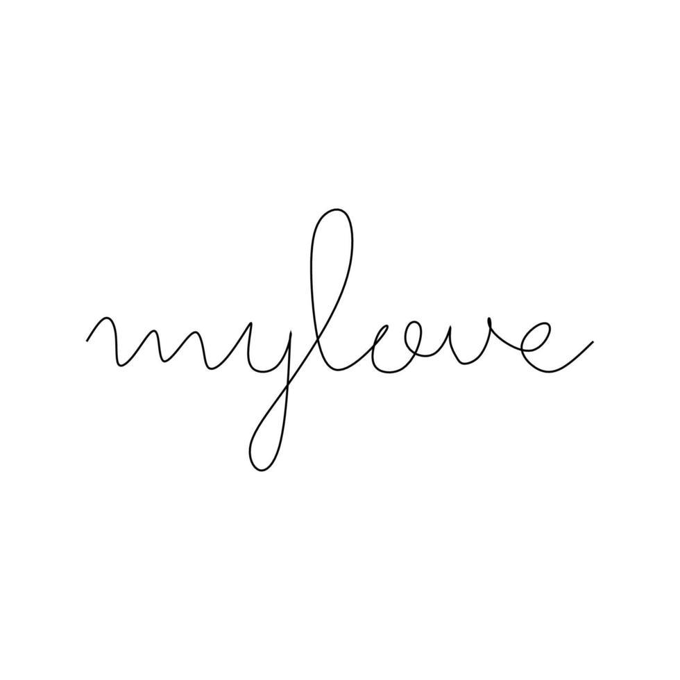 desenho de linha contínua da minha palavra de amor. ilustração minimalista do vetor preto e branco do conceito de amor. símbolo abstrato do amor.