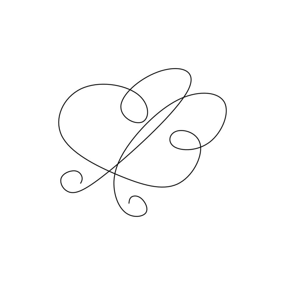 borboleta um elemento de desenho de linha contínua isolado no fundo branco. contínuo um desenho de linha borboleta voadora. imagem de uma borboleta de animais minimalistas. vetor