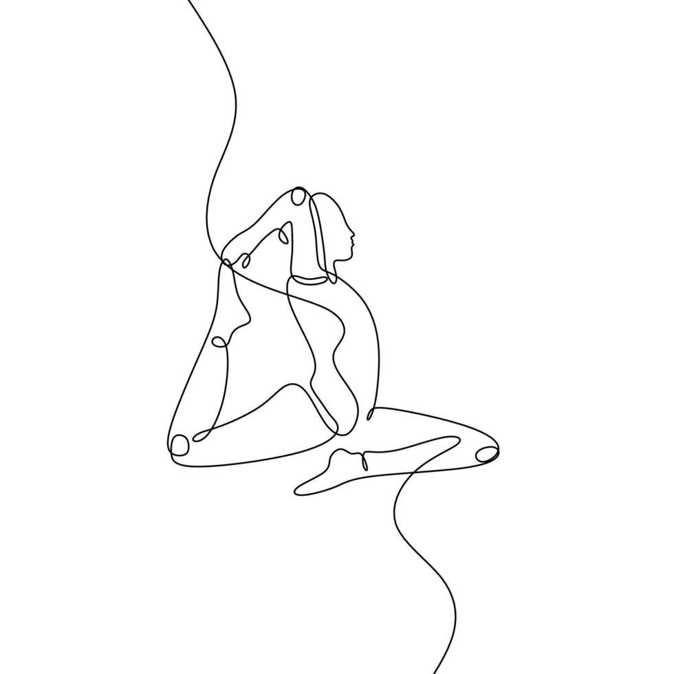 conceito de ioga de pombo-rei desenho de linha contínua. mão desenhada ilustração vetorial design minimalista em fundo branco. vetor
