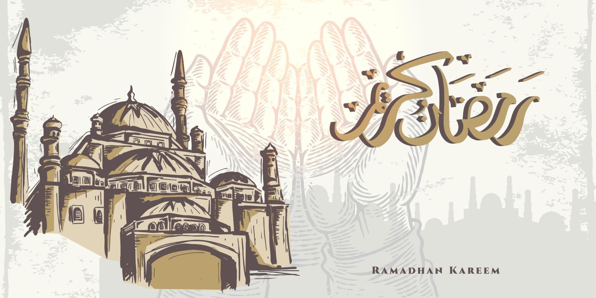 Ramadan kareem saudação cartão com mão orando esboço mão, mesquita dourada e caligrafia árabe significa azevinho ramadan. mão desenhada esboço elegante design isolado no fundo branco. vetor