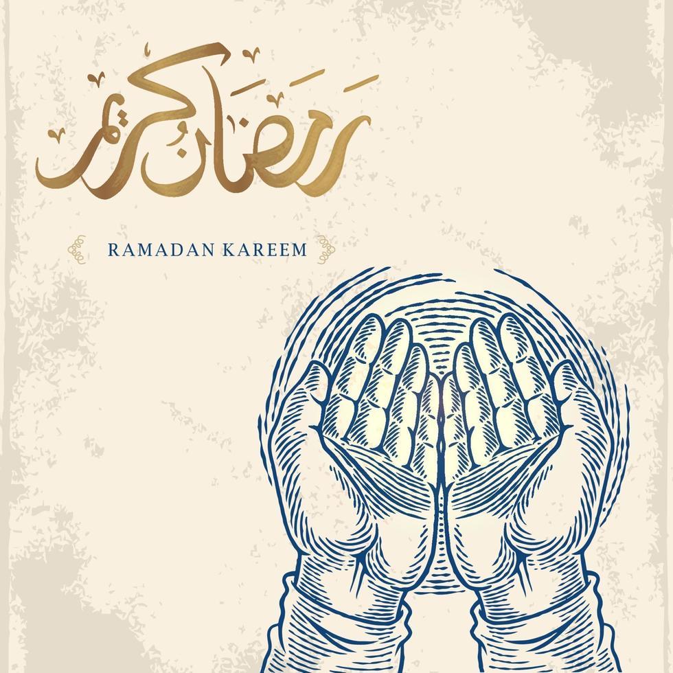 Ramadan Kareem cartão com desenho de mão orando e caligrafia árabe dourada significa Holly Ramadan. isolado no fundo branco. esboçar um design elegante. vetor