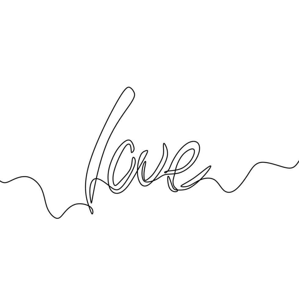 amor escrito à mão por uma linha. letras de linha única do estilo de caligrafia. amo letras desenhadas mão projeto palavra contorno preto simples. mensagem de dia dos namorados de tipografia. romântico e adorável uma palavra de linha. vetor