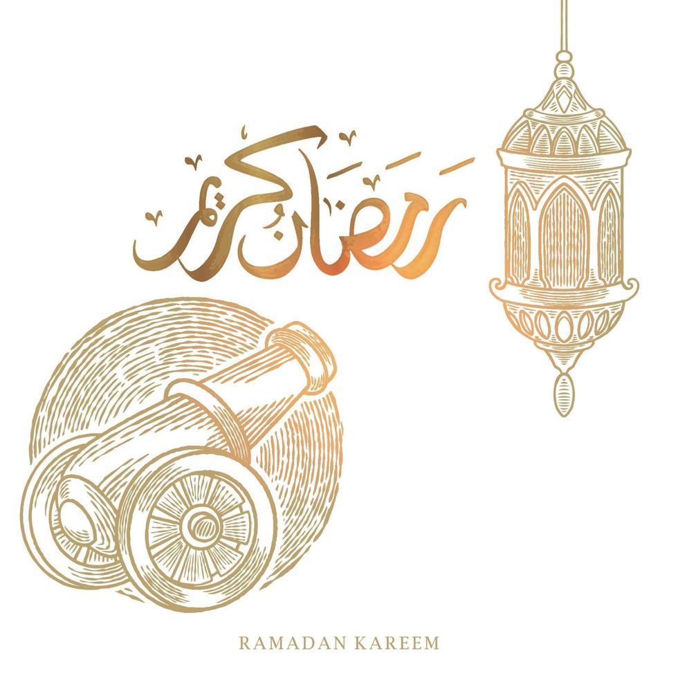 Ramadan Kareem cartão com desenho de lanterna e artilheiro e caligrafia árabe significa Holly Ramadan. ilustração em vetor vintage mão desenhada isolada no fundo branco.