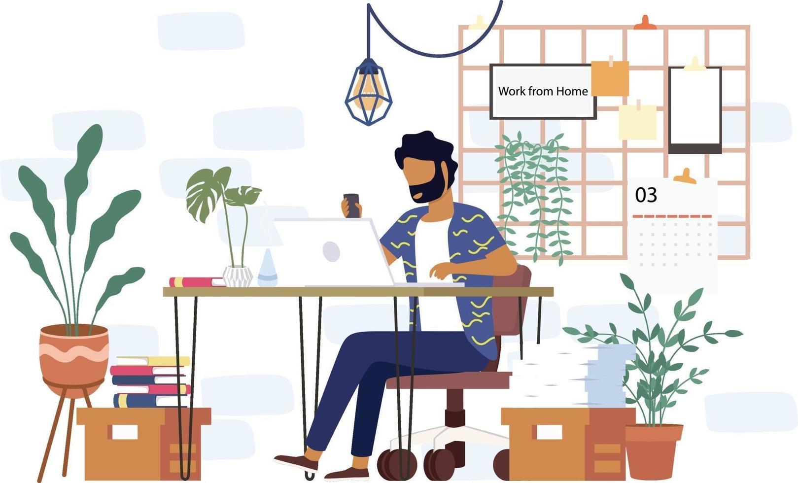 um estudante universitário estuda em casa por meio de um laptop online em design de vetor mínimo. trabalho de estudo de videoconferência online em casa devido ao surto de covid19