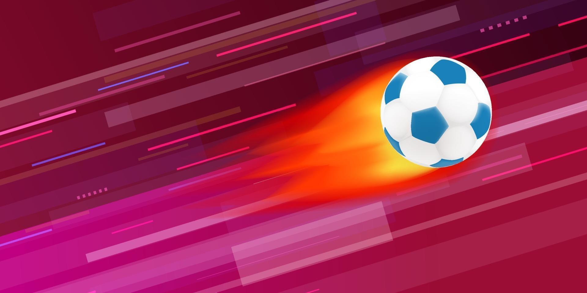 bola de futebol em chamas na ilustração vetorial de fundo abstrato vetor