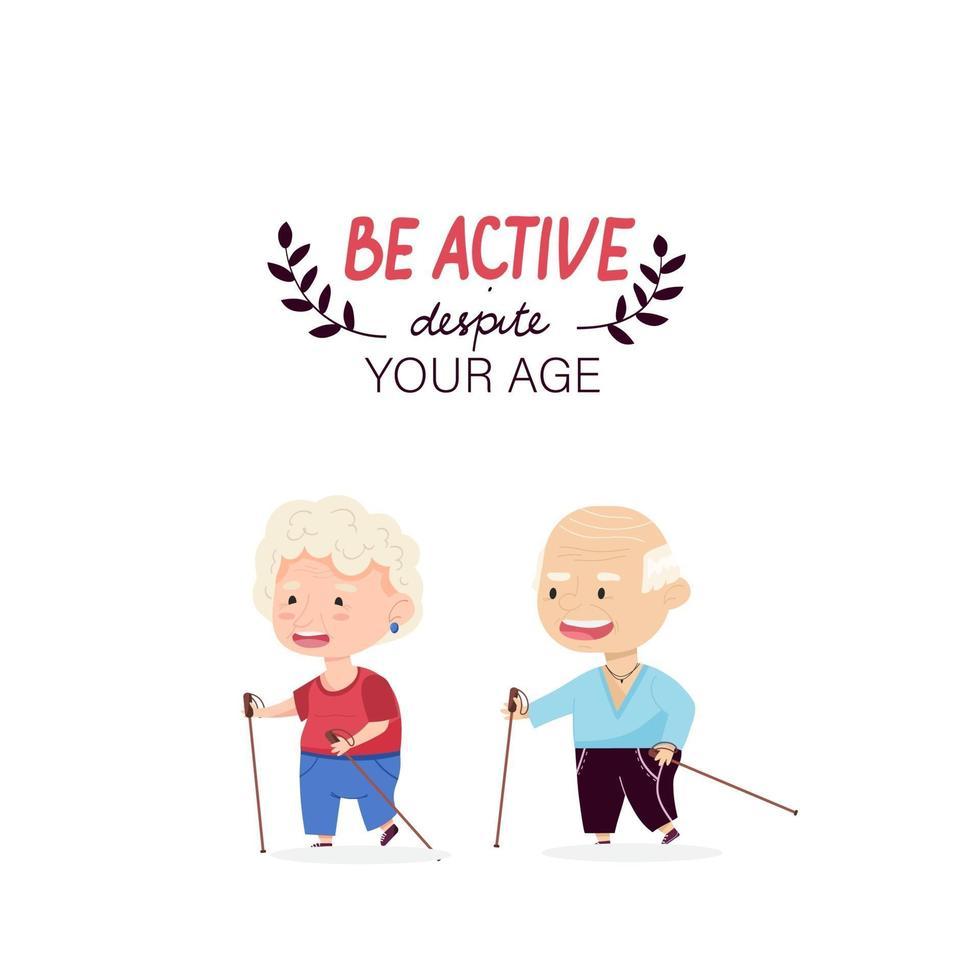 avó e avô de esportes andam com varas. letras de mão ser ativo em qualquer idade. avós. ilustração vetorial no estilo cartoon vetor