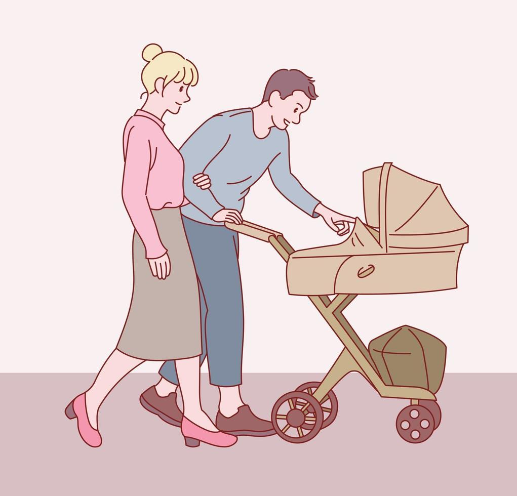 sua mãe e seu pai estão andando empurrando um carrinho de bebê. mão desenhada estilo ilustrações vetoriais. vetor