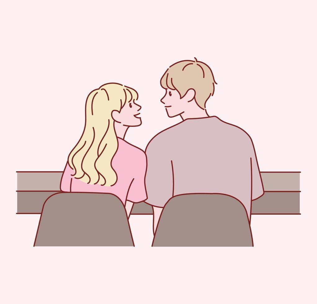 a visão traseira de um casal afetuoso do sexo masculino e feminino. mão desenhada estilo ilustrações vetoriais. vetor
