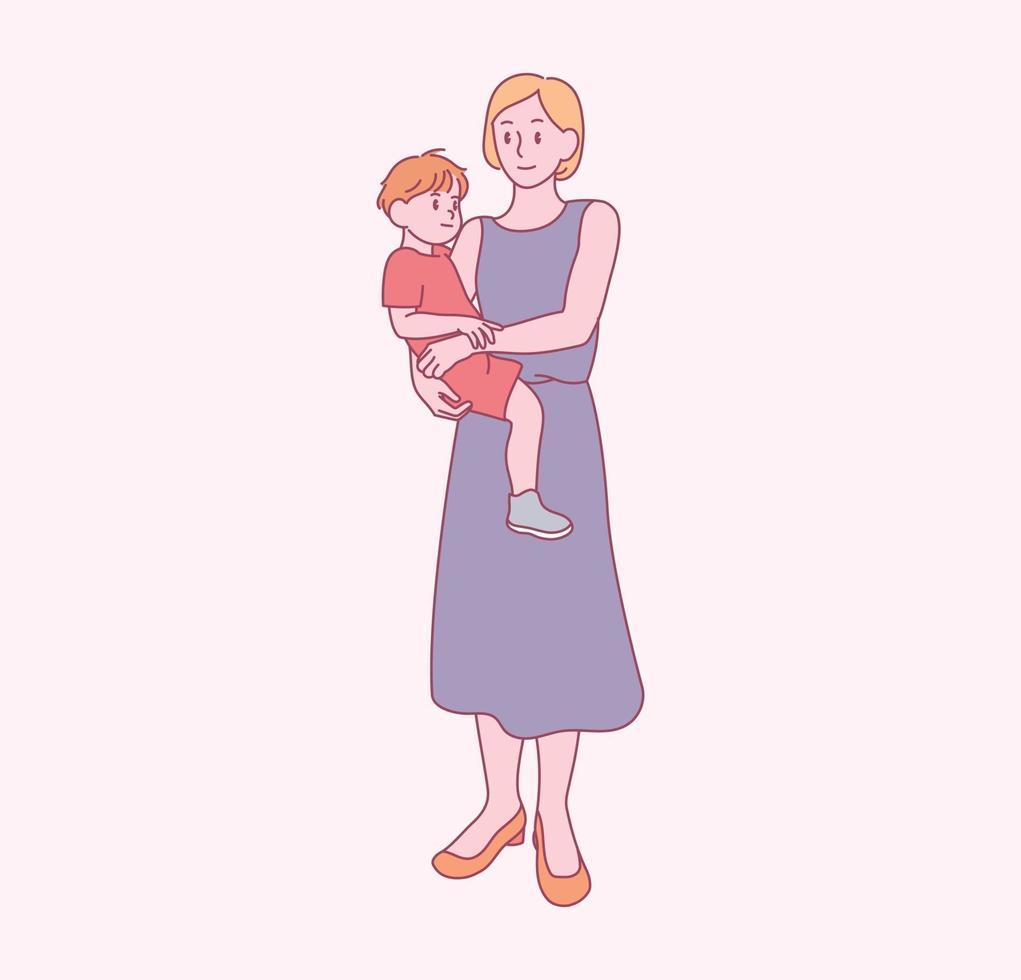 sua mãe está abraçando seu filho. mão desenhada estilo ilustrações vetoriais. vetor