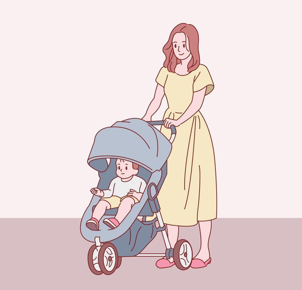 a mãe está caminhando com seu bebê em um carrinho. mão desenhada estilo ilustrações vetoriais. vetor