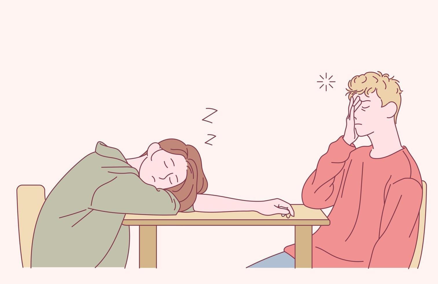 um homem e uma mulher dormem à mesa. mão desenhada estilo ilustrações vetoriais. vetor