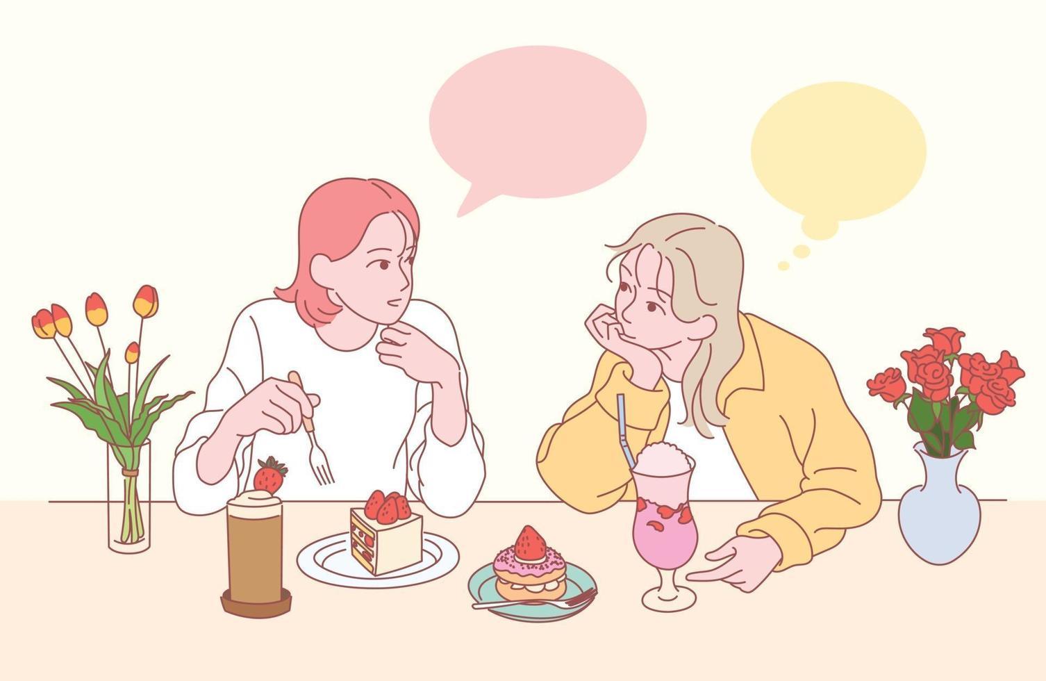 dois amigos estão bebendo bolo e suco em uma loja de sobremesas de morango. mão desenhada estilo ilustrações vetoriais. vetor