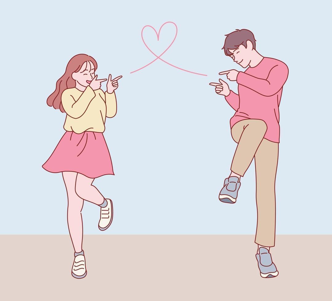 um casal em uma pose fofa fazendo um gesto de atirar uma bala de amor um no outro. mão desenhada estilo ilustrações vetoriais. vetor