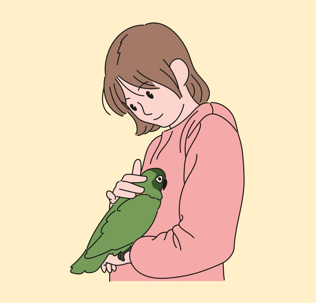 uma garota está desfrutando de seu papagaio de estimação. mão desenhada estilo ilustrações vetoriais. vetor