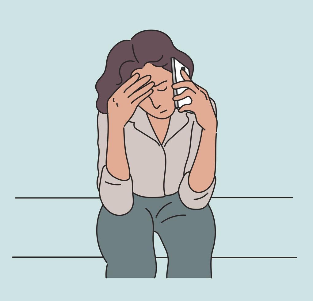 uma mulher está ao telefone com uma expressão séria. mão desenhada estilo ilustrações vetoriais. vetor