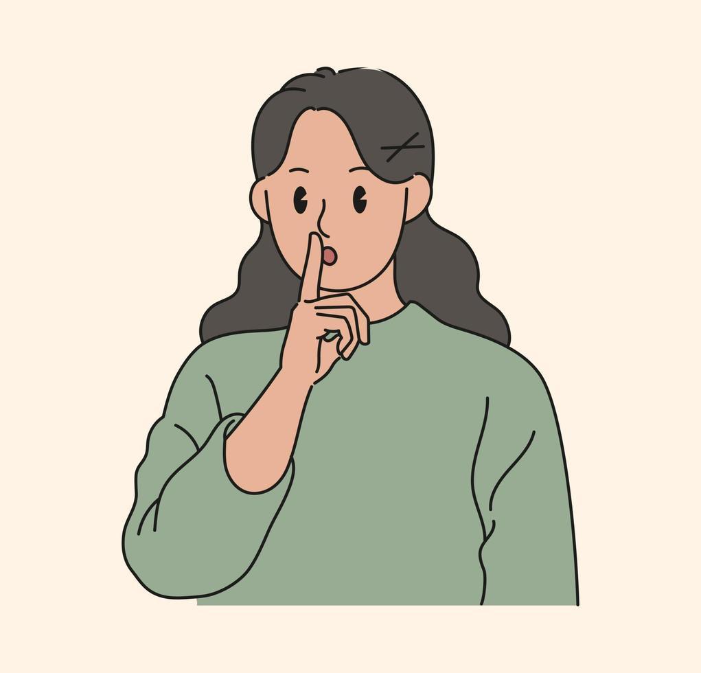 uma mulher está fazendo um gesto sibilante. mão desenhada estilo ilustrações vetoriais. vetor