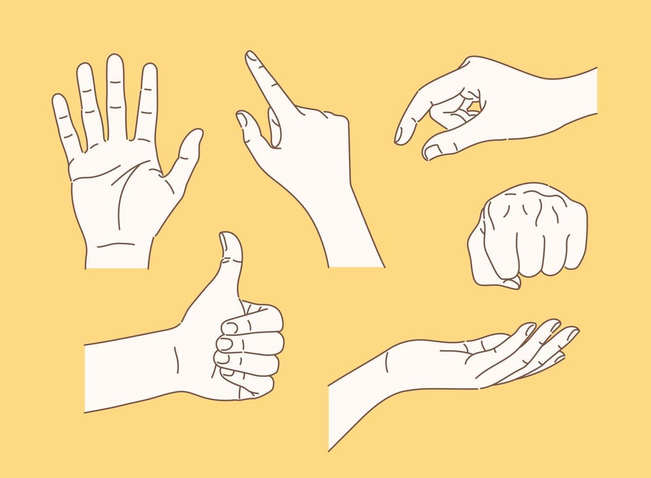 coleção de vários gestos com as mãos. mão desenhada estilo ilustrações vetoriais. vetor