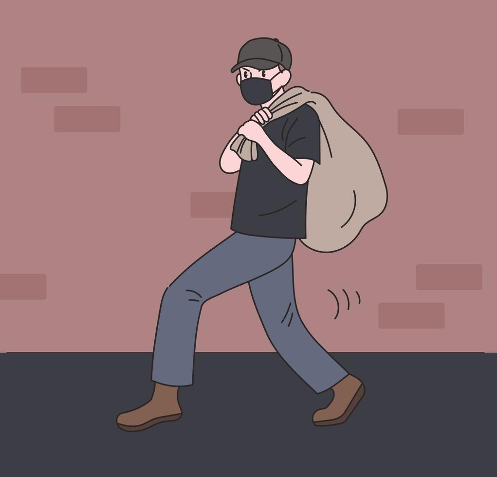 um ladrão está fugindo roubando algo em um saco. mão desenhada estilo ilustrações vetoriais. vetor
