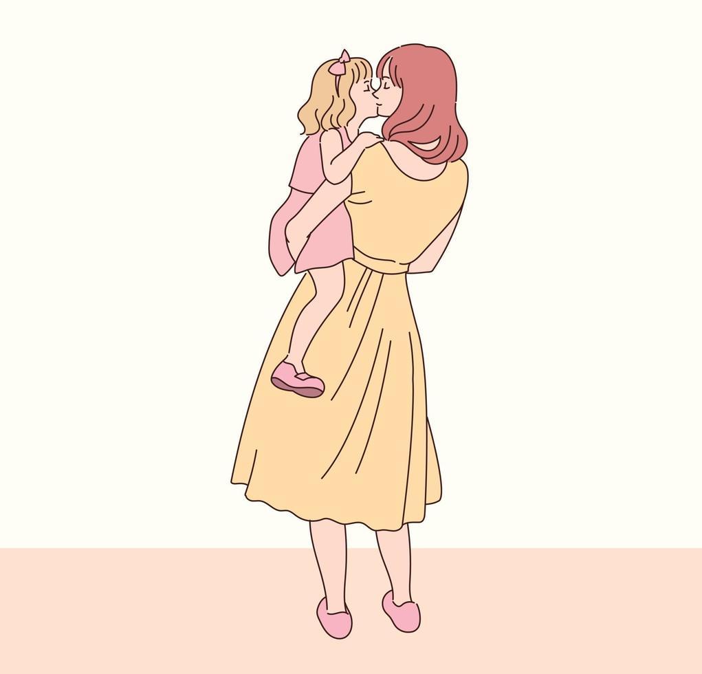a mãe abraça a filha com ternura. mão desenhada estilo ilustrações vetoriais. vetor