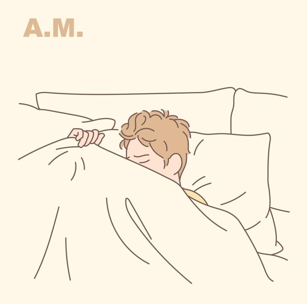 um homem está deitado na cama e não consegue dormir. mão desenhada estilo ilustrações vetoriais. vetor