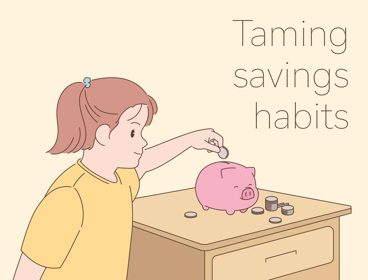 uma garota está colocando uma moeda em um cofrinho. mão desenhada estilo ilustrações vetoriais. vetor