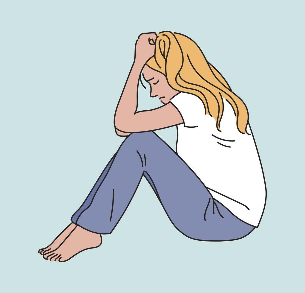 uma mulher está sentada com uma expressão séria. mão desenhada estilo ilustrações vetoriais. vetor