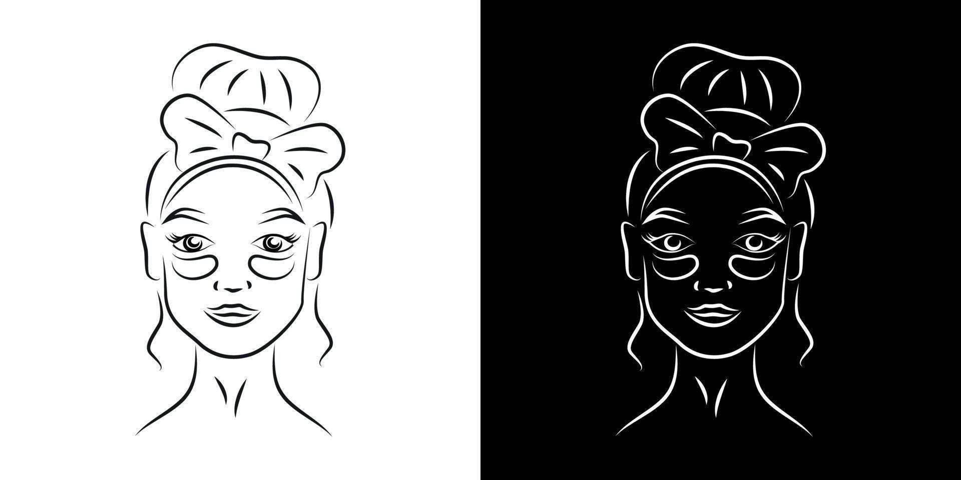 com tapa-olhos ilustração em vetor retrato contorno. rosto de menina com arte linha realista de produtos para a pele. olhos de senhora contorno de tratamento de olheiras em fundos preto e branco