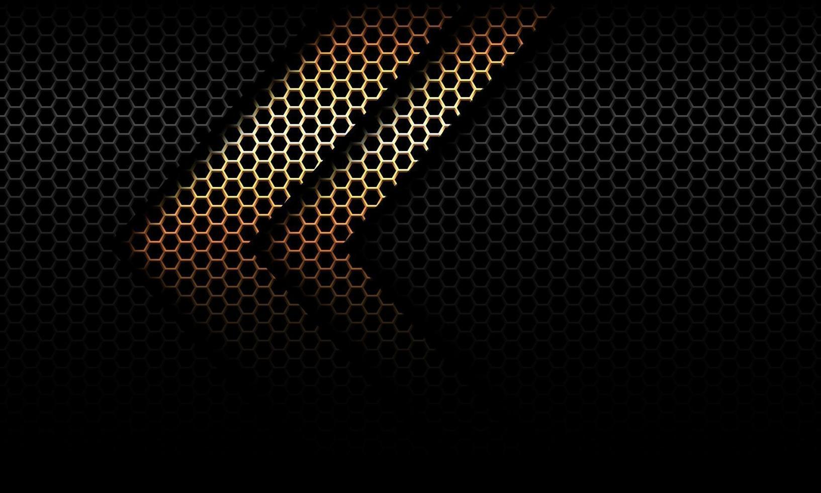 direção da sombra da seta dourada abstrata no hexágono preto mesh design ilustração vetorial moderno fundo futurista. vetor