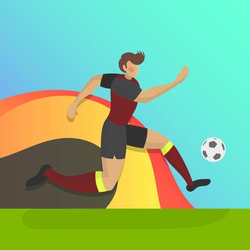 Jogador de futebol de Bélgica plana com ilustração em vetor fundo gradiente