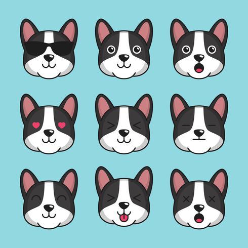 Emoticon bonito do cão de Basenji vetor