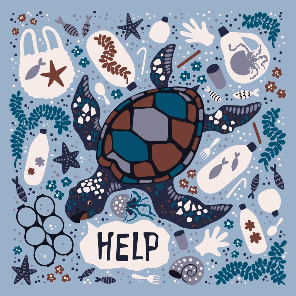 vector plana mão desenhada tartaruga rodeada por lixo marinho e resíduos.
