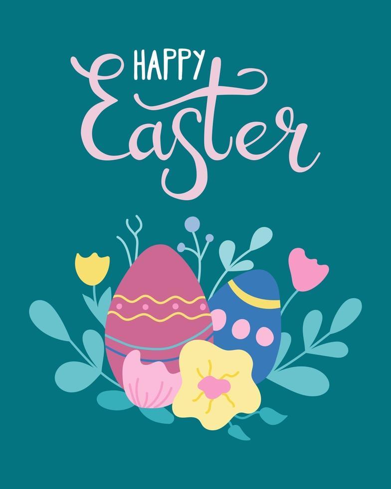 ovos de Páscoa com flores, cartão postal, cartaz. ilustração vetorial em estilo simples com letras de mão vetor