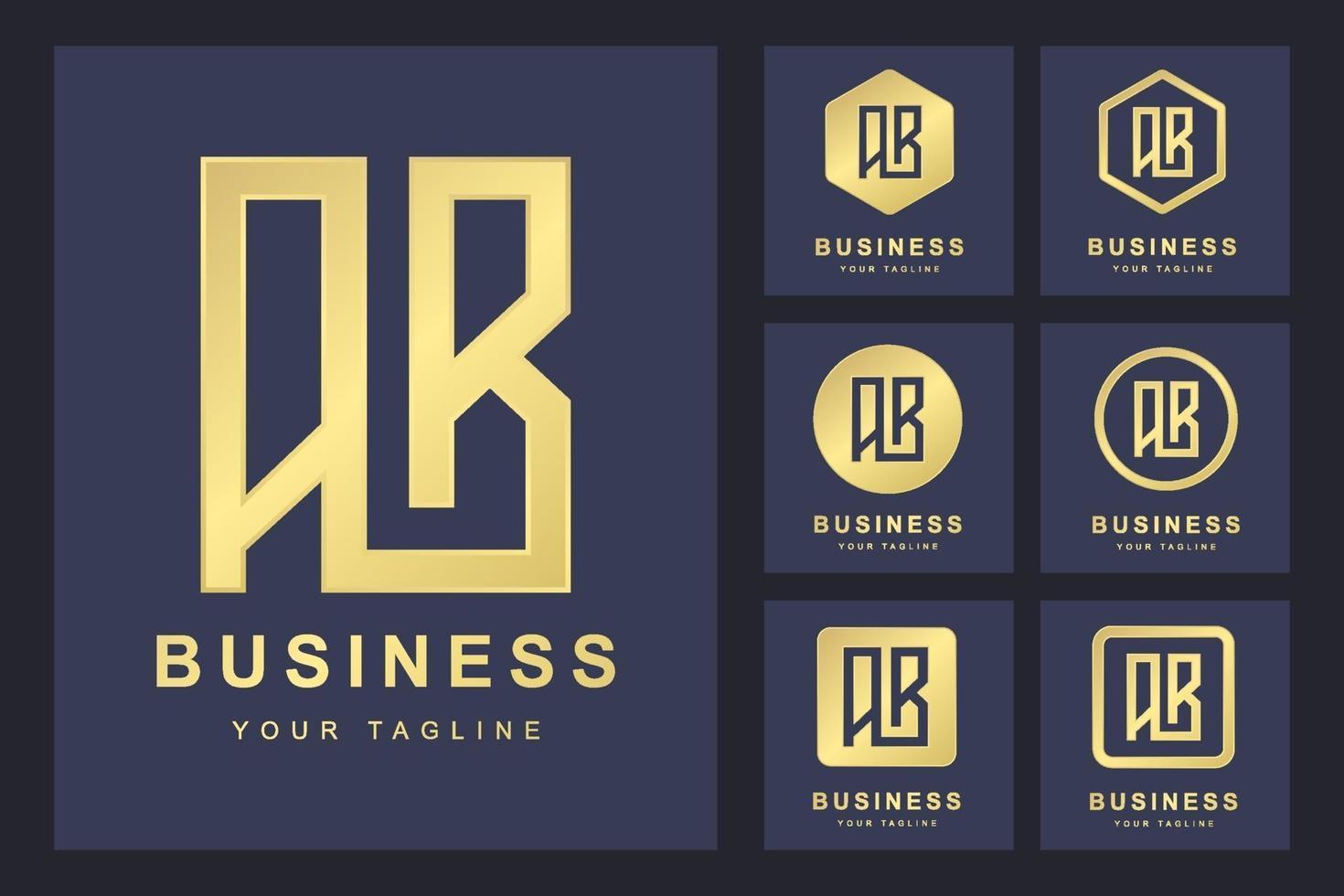 conjunto de modelo de logotipo de letra ab vetor